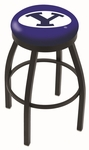 Brigham Young University 25'' Black Wrinkle Finish Swivel Backless Counter Height Stool with Accent Ring [L8B2B25BRIGYN-FS-HOB]