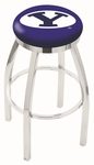 Brigham Young University 25'' Chrome Finish Swivel Backless Counter Height Stool with Accent Ring [L8C2C25BRIGYN-FS-HOB]