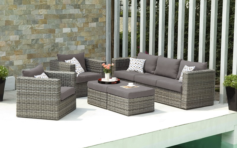 Bristow Outdoor Faux Wicker 5 Piece Deep Seating Sofa Set