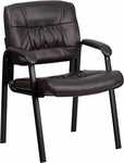 Brown Leather Executive Side Reception Chair with Black Frame Finish [BT-1404-BN-GG]