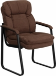 Brown Microfiber Executive Side Reception Chair with Sled Base [GO-1156-BN-GG]