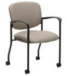 Brylee™ Guest Chair with Casters and Waterfall Seat Front - Black Frame [BR32C-E3-FS-UC]