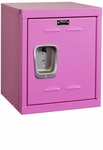Bubble Gum Pink Kids Mini Locker Unassembled - 15''W x 15''D x 24''H [HKL1515-24-1BG-HAL]