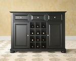 Buffet Server / Sideboard Cabinet with Wine Storage in Black Finish with Alexandria Style Feet [KF42001ABK-FS-CRO]
