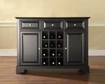 Buffet Server / Sideboard Cabinet with Wine Storage in Black Finish with LaFayette Style Feet [KF42001BBK-FS-CRO]