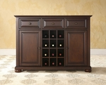 Buffet Server / Sideboard Cabinet with Wine Storage in Vintage Mahogany Finish with Alexandria Style Feet [KF42001AMA-FS-CRO]