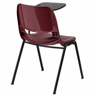 Burgundy Ergonomic Shell Chair With Left Handed Flip Up Tablet Arm RUT EO1 B