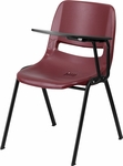 Burgundy Ergonomic Shell Chair with Left Handed Flip-Up Tablet Arm [RUT-EO1-BY-LTAB-GG]