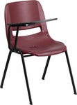 Burgundy Ergonomic Shell Chair with Right Handed Flip-Up Tablet Arm [RUT-EO1-BY-RTAB-GG]