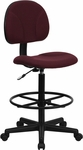 Burgundy Fabric Drafting Chair (Cylinders: 22.5''-27''H or 26''-30.5''H) [BT-659-BY-GG]