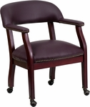 Burgundy Top Grain Leather Conference Chair with Casters [B-Z100-LF19-LEA-GG]