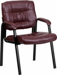 Burgundy Leather Executive Side Reception Chair with Black Frame Finish [BT-1404-BURG-GG]