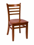 Burlington Cherry Wood Ladder Back Chair - Wood Seat [LWC101CHCHW-BFMS]
