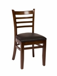 Burlington Walnut Wood Ladder Back Chair - Vinyl Seat [LWC101WABLV-BFMS]