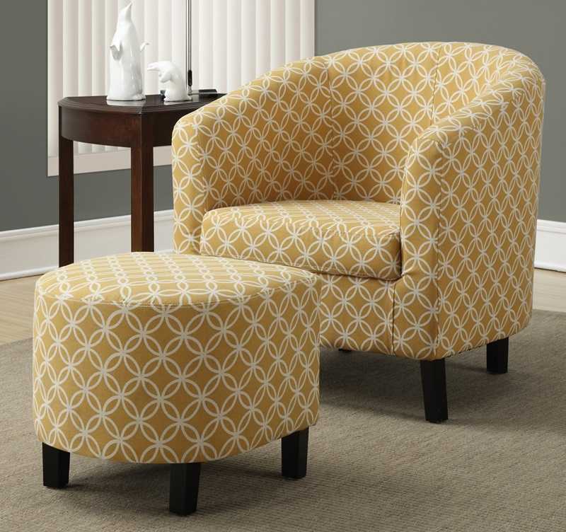 Curved Back Fabric Accent Chair And Matching Ottoman