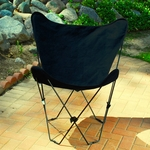 Folding Butterfly Chair with Black Steel Frame and Cotton Cover - Ebony [405357-FS-ALG]