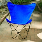 Folding Butterfly Chair with Black Steel Frame and Cotton Cover - Royal Blue [405355-FS-ALG]