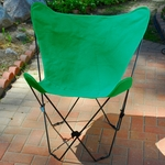 Folding Butterfly Chair with Black Steel Frame and Cotton Cover - Hunter Green [405350-FS-ALG]