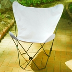 Folding Butterfly Chair with Black Steel Frame and Cotton Cover - Natural [405300-FS-ALG]
