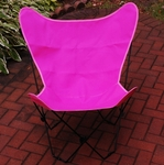 Folding Butterfly Chair with Black Steel Frame and Cotton Cover - Pink [405359-FS-ALG]