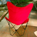 Folding Butterfly Chair with Black Steel Frame and Cotton Cover - Red [405354-FS-ALG]
