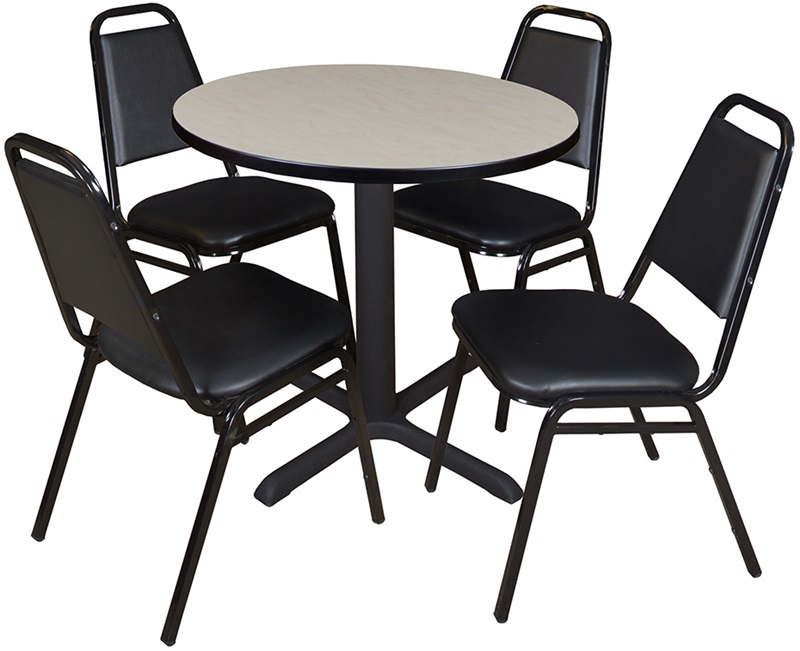 Cain 30 39 39 round laminate breakroom table with 4 restaurant for Table 6 4 minimum exhaust rates