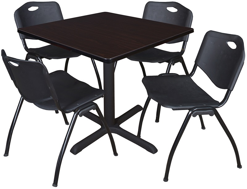 cain 36 39 39 square laminate breakroom table with 4 39 39 m 39 39 stack chairs walnut table finish and. Black Bedroom Furniture Sets. Home Design Ideas