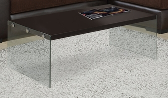 modern 44''w coffee table with tempered glass base - cappuccino, i