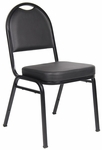 Caressoft™ and Black Powder Coated Steel Frame Banquet Chair - Set of 4 - Black [B1500-CS-4-BOSS]