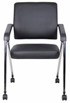 CaressoftPlus&#8482 Nesting Training Chair with Chrome Frame - Set of 2 - Black [B1800-CP-2-BOSS]