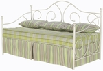 Caroline Scrolled Metal Daybed with Link Spring and Pop-Up Trundle -White [B10199-FS-FBG]