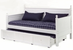 Casey Country Casual Wood Daybed with Roll Out Drawer Trundle - White [B51C43-FS-FBG]