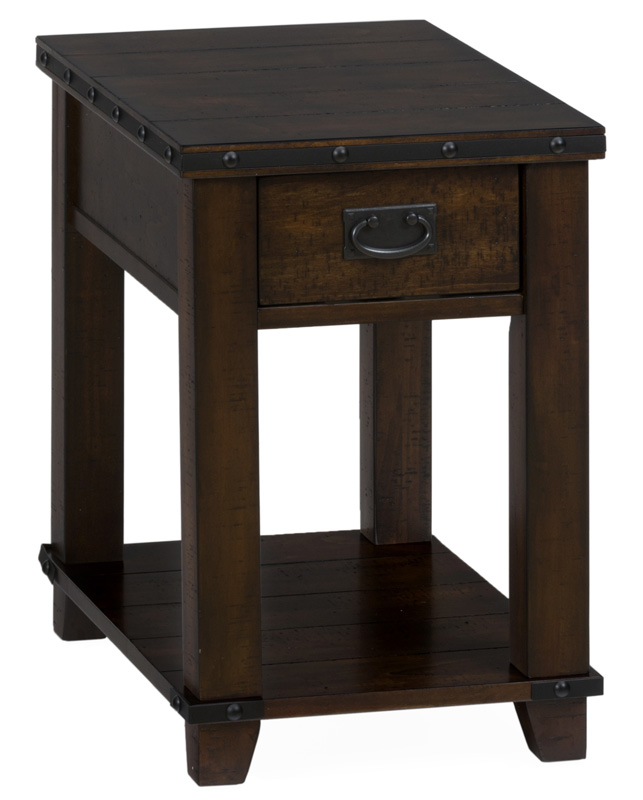 Cassidy Brown Traditional Plank Top Chairside Table with