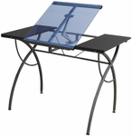 Catalina Blue Tempered Glass and Steel Craft Table with Adjustable Angle Split Top - Pewter [10081-FS-SDI]