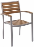 Cedar Key Collection Outdoor Stackable Arm Chair with Faux Teak Back and Seat - Silver [AL-5602TK-FLS]