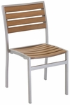 Cedar Key Collection Outdoor Stackable Side Chair with Faux Teak Back and Seat - Silver [AL-5602-0-TK-FLS]