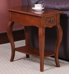 Favorite Finds 12.5''W x 24''H French Countryside Style Chairside Table with One Drawer and Display Shelf - Brown Cherry [9018-BR-FS-LCK]