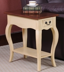 Favorite Finds 12.5''W x 24''H Two Tone French Countryside Style Chairside Table with One Drawer and Display Shelf - Ivory and Oak [9018-IV-FS-LCK]