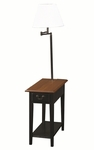 Favorite Finds 12''W x 57''H Two Tone Petit Chairside Table with One Storage Drawer and Built In Swing Arm Lamp - Antique Black and Oak [9037-SL-FS-LCK]