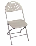 Champ Series 35''H Fanback Powder Coated Steel and Resin Folding Chair - Classic White [133001-MES]