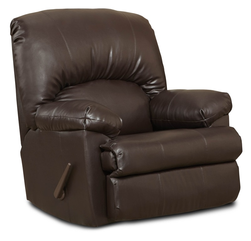 Charles contemporary style faux leather rocker recliner brown blended leather 478500 bn by - Stylish rocker recliner ...
