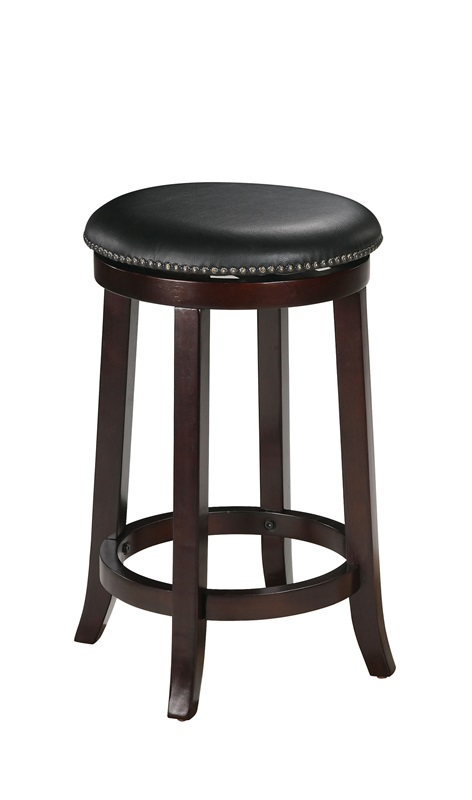 Chelsea wood 24 39 39 h backless swivel bar stool with black faux leather seat and nailhead trim - Leather bar stools with nailhead trim ...
