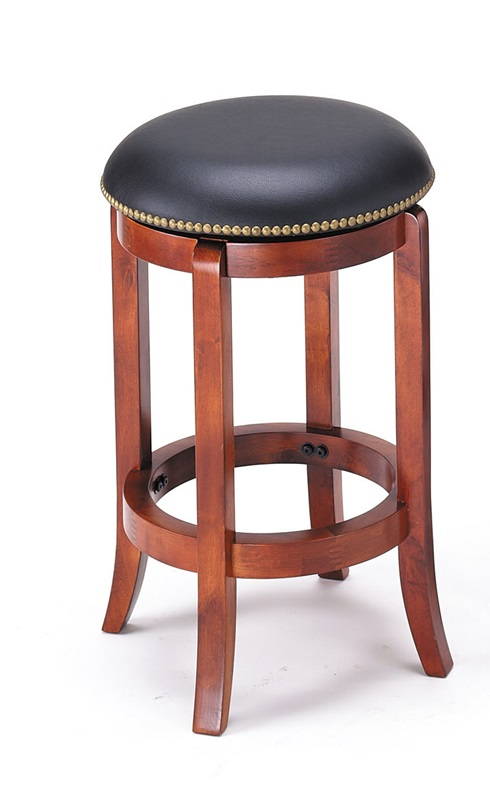 Chelsea wood 24 39 39 h backless swivel bar stool with nailhead trim and faux leather seat vintage - Leather bar stools with nailhead trim ...