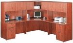 Cherry 42''W Corner Desk Unit with Floor Pedestals [ML353-CHERRY-FS-MAR]