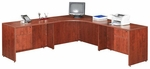 Cherry 42''W Corner Desk Unit with Wings and Pedestals [ML356-CHERRY-FS-MAR]