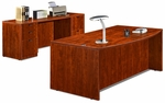 Cherry 70.75''W Bow Front Desk and Credenza [ML342-CHERRY-FS-MAR]