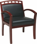 Work Smart Four Leg Guest Chair with Upholstered Wood Crown Back - Cherry [WD1647-U6-FS-OS]