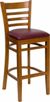 Cherry Finished Ladder Back Wooden Restaurant Barstool with Burgundy Vinyl Seat [BFDH-8241CBY-BAR-TDR]