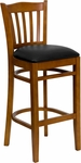 Cherry Finished Vertical Slat Back Wooden Restaurant Barstool with Black Vinyl Seat [BFDH-8242CBK-BAR-TDR]