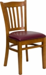Cherry Finished Vertical Slat Back Wooden Restaurant Chair with Burgundy Vinyl Seat [BFDH-8242CBY-TDR]